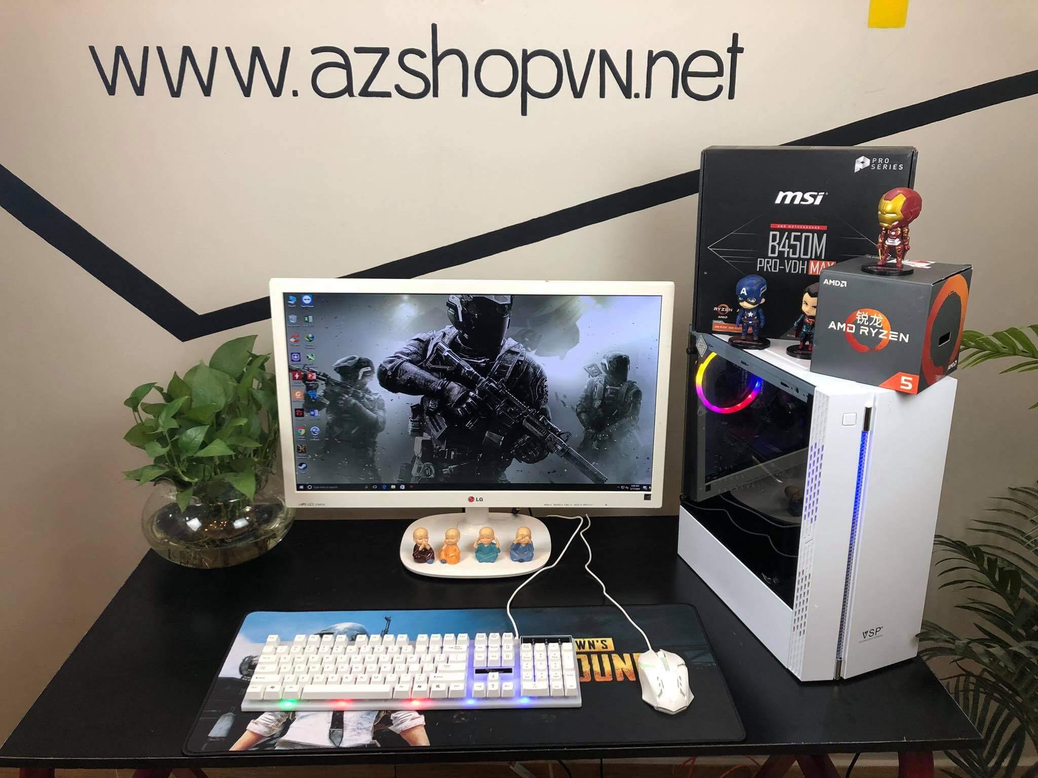 Case AZGAMER Ryzen 5 2600 Rx 580 4gb & LCD 24 Inch